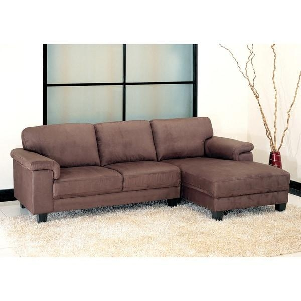Abbyson Capri Dark Brown Microsuede Sectional Sofa – Free Shipping Intended For Abbyson Sectional Sofas (Image 2 of 20)