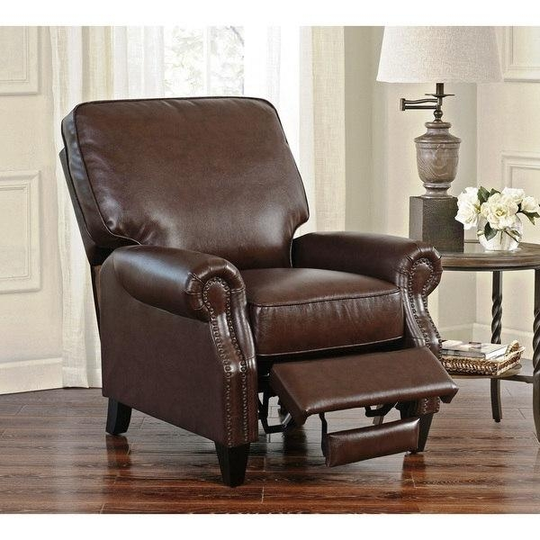 Abbyson Carla Brown Bonded Leather Push Back Recliner – Free With Abbyson Recliners (Image 7 of 20)