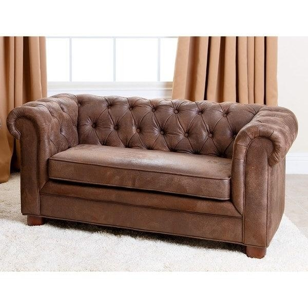 Abbyson Kids Antique Brown Velvet Chesterfield Rj Mini Sofa – Free Inside Abbyson Sofas (Image 4 of 20)