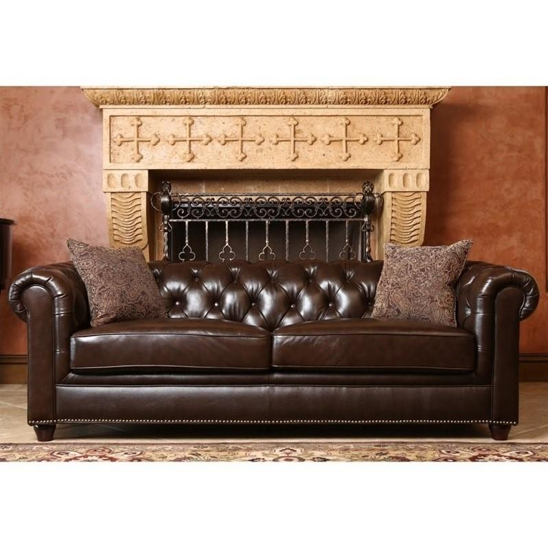 Abbyson Living Alexandra Leather Sofa In Brown – Sk 2326 Brn 3 Intended For Abbyson Sofas (Image 5 of 20)