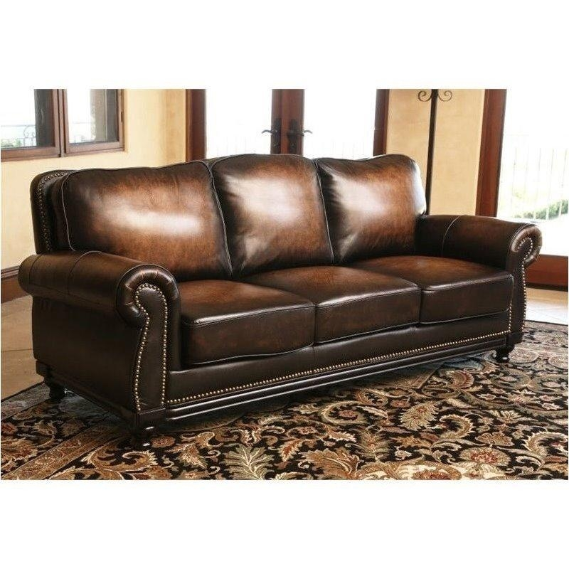 Abbyson Living Barclay Leather Sofa In Espresso – Ci N180 Brn 3 With Abbyson Sofas (Image 6 of 20)
