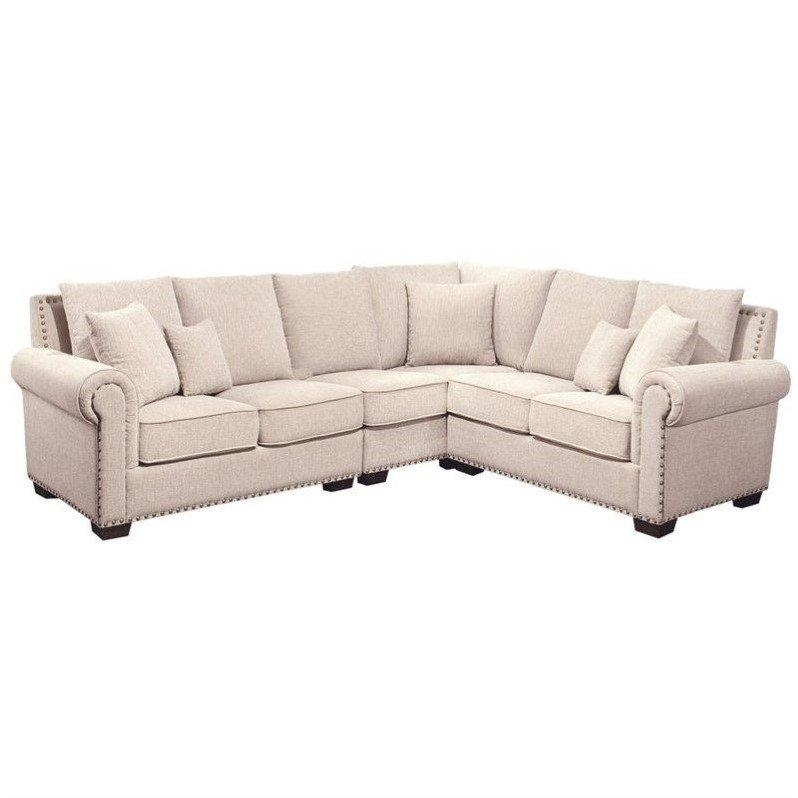 Abbyson Living Bromley Fabric Nailhead Sectional Sofa In Sandstone Pertaining To Abbyson Sectional Sofas (Image 4 of 20)