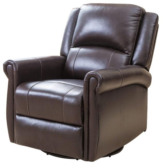 Abbyson Living Elena Swivel Glider Recliner Chair In Dark Brown For Abbyson Recliners (Image 9 of 20)