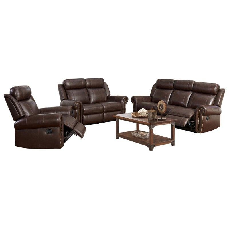 Abbyson Living Ellie 3 Piece Top Grain Leather Reclining Set In Intended For Abbyson Recliners (Image 10 of 20)