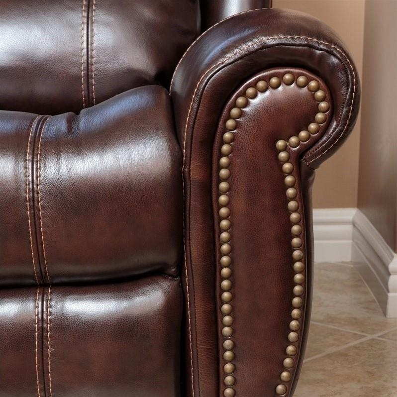 Abbyson Living Kingston Leather Power Reclining Sofa In Brown – Sk With Abbyson Recliners (Image 11 of 20)
