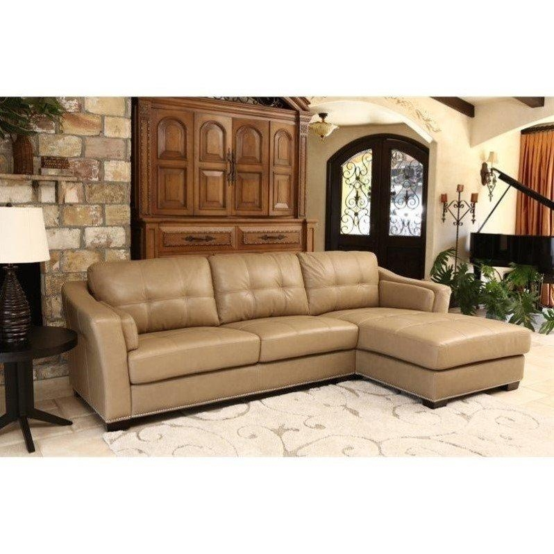 Abbyson Living Margot Leather Sectional In Beige – Sk 2313 Crm In Abbyson Living Sectional Sofas (Image 7 of 20)