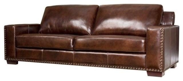 Abbyson Living Monaco Sk 9060 Brn 3 Hand Rubbed Leather Sofa Regarding Abbyson Sofas (Image 11 of 20)