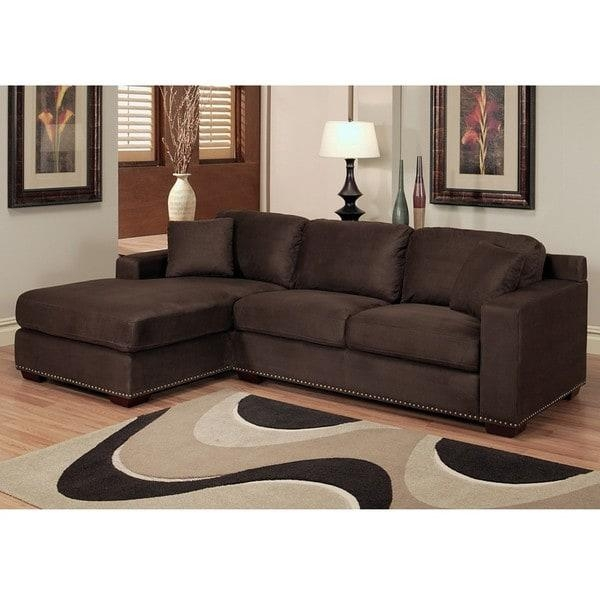 Abbyson Living Monrovia Dark Brown Nailhead Trim Microsuede Pertaining To Abbyson Living Sectional Sofas (Image 8 of 20)