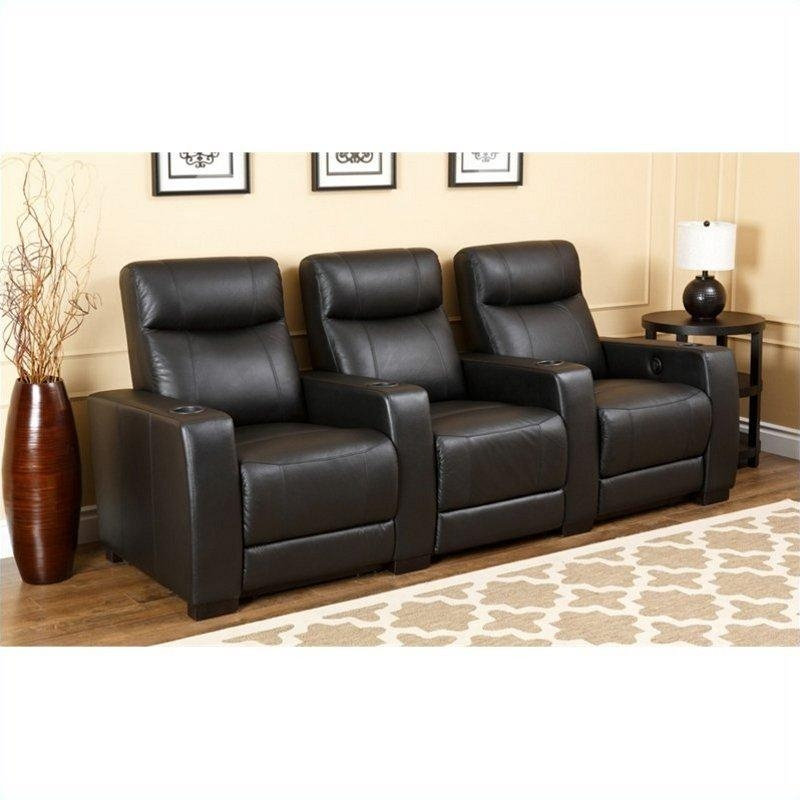 Abbyson Living Montgomery 3 Piece Top Grain Leather Recliners In Pertaining To Abbyson Recliners (Image 12 of 20)
