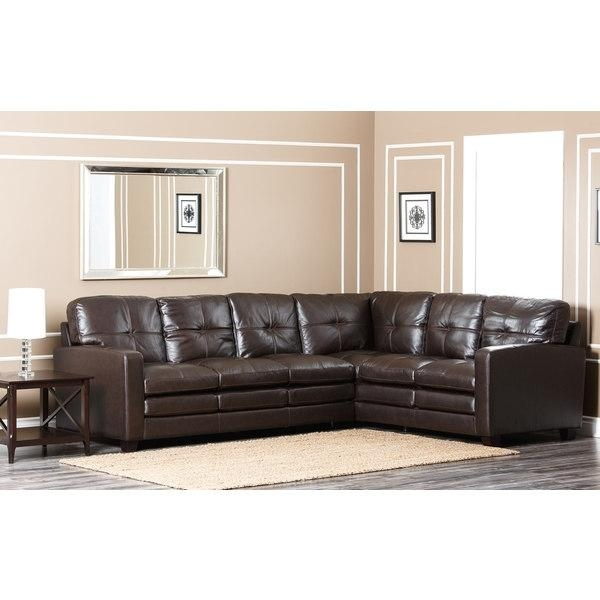 Abbyson Living Sienna Premium Top Grain Leather Sectional Sofa Inside Abbyson Sectional Sofas (Image 11 of 20)