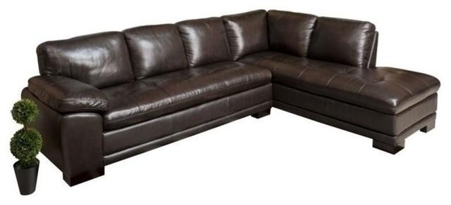 Abbyson Living Tekana 2 Piece Leather Sectional, Dark Brown In Abbyson Sectional Sofas (Image 13 of 20)