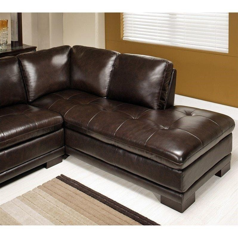 Abbyson Living Tekana 2 Piece Leather Sectional In Dark Brown – Ci With Abbyson Sectional Sofas (View 5 of 20)