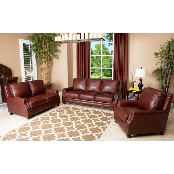 Abbyson Living Verona 3 Piece Hand Rubbed Leather Sofa, Loveseat With Regard To Abbyson Living Sofas (View 15 of 20)