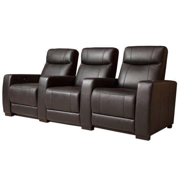 Abbyson Montgomery 3 Piece Top Grain Leather Power Theatre Within Abbyson Recliners (Image 14 of 20)