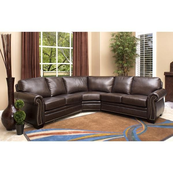 Abbyson Oxford Premium Top Grain Leather Sectional Sofa – Free Inside Abbyson Living Sectional Sofas (Image 15 of 20)