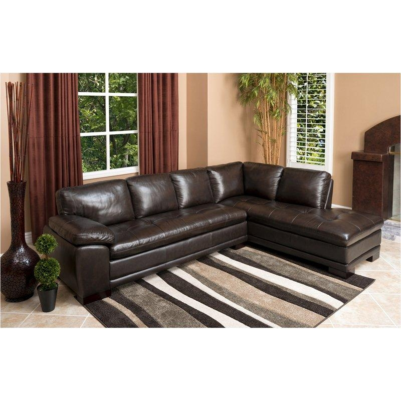 Abbyson Tekana Premium Italian Leather Sectional Sofa – Dark Brown With Abbyson Sectional Sofas (Image 14 of 20)