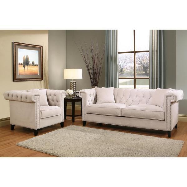 Abbyson Victoria Ivory Velvet Sofa And Armchair Set – Free Regarding Abbyson Sofas (Image 14 of 20)