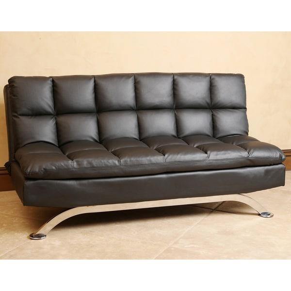 Abbyson Vienna Black Leather Euro Lounger Sofa – Free Shipping Pertaining To Euro Lounger Sofa Beds (Image 3 of 20)