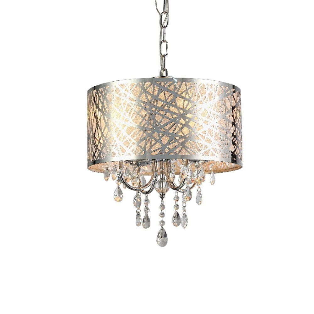 Abstract 4 Light Chrome Indoor Crystal Chandelier With Shade For 4 Light Crystal Chandeliers (Image 1 of 25)