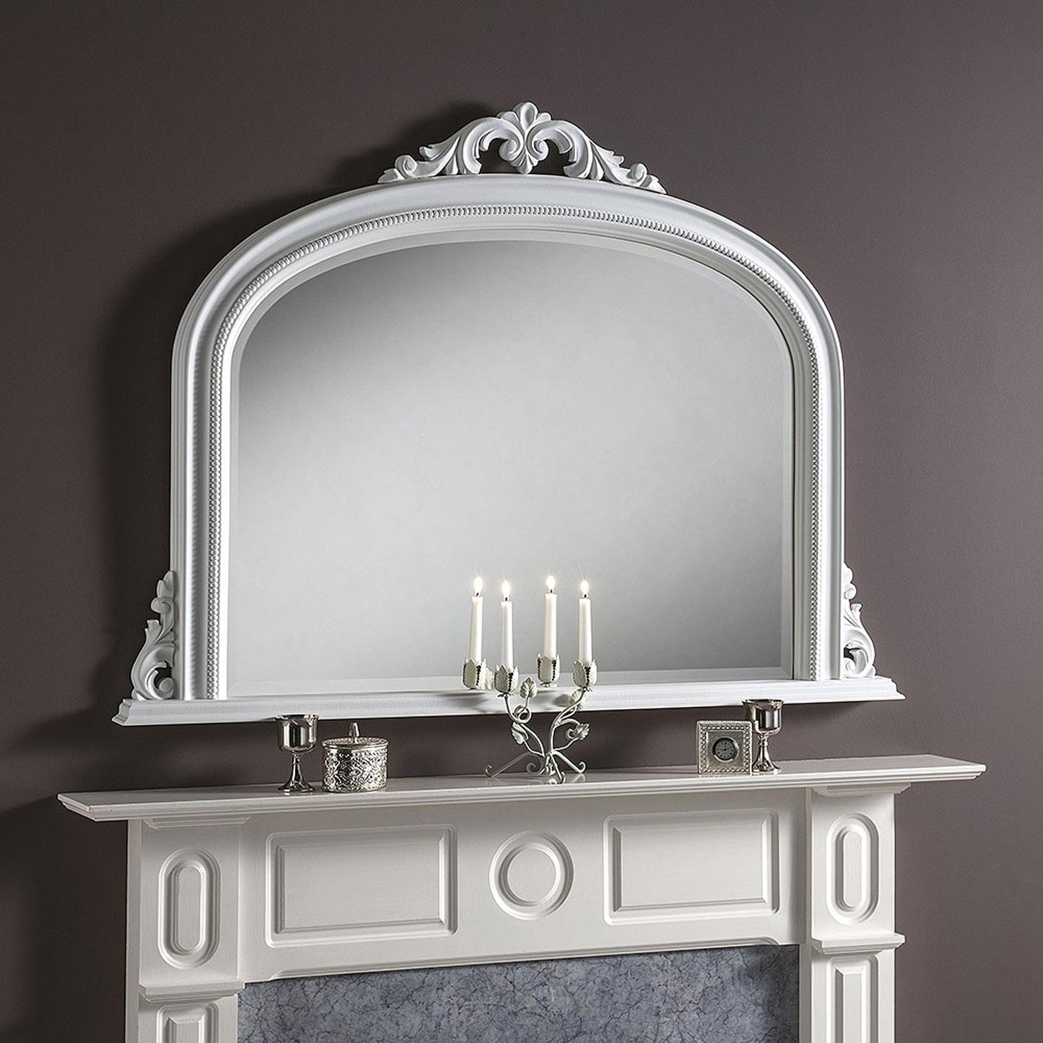 Acanthus Crown 91X122Cm Overmantle Mirror, White | Achica Pertaining To White Overmantle Mirror (Image 1 of 20)