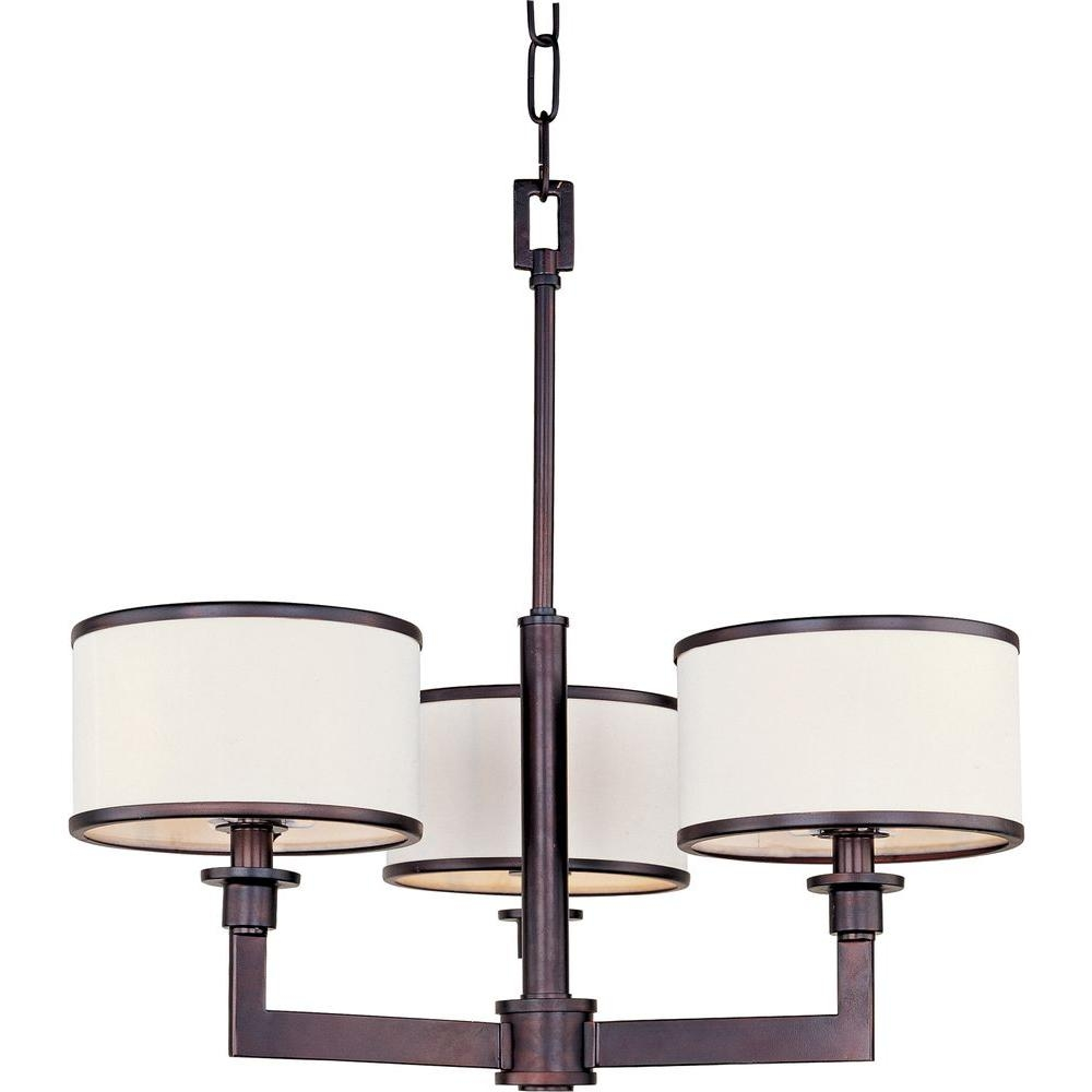 Acclaim Lighting Lily 3 Light Indoor Polished Nickel Mini Pertaining To Fabric Drum Shade Chandeliers (Image 4 of 25)
