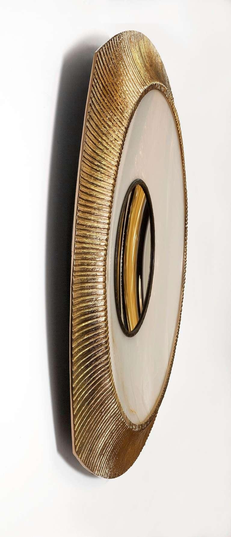 "Achille Salvagni, ""iride"", Onyx And Bronze Concave Wall Mirror For Concave Wall Mirror (View 20 of 20)"