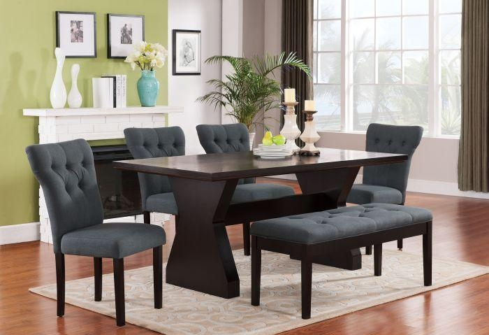 Acme 71515 Effie 6Pcs Walnut Dining Table Set With Gray Chairs Bench With Regard To Walnut Dining Table Sets (View 19 of 21)