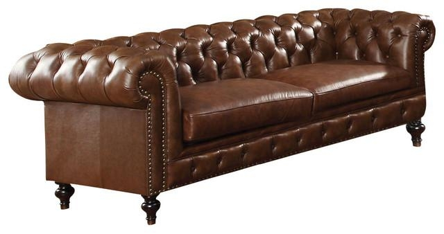 Acme Shantoria Bonded Leather Sofa, Dark Brown – Traditional Throughout Bonded Leather Sofas (View 16 of 20)