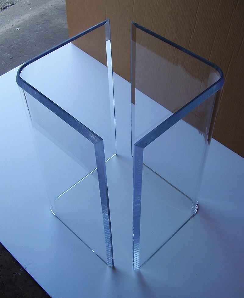 "Acrylic ""v's"" Or Boomerang Dining Table Bases (2) Clear Lucite With Regard To Round Acrylic Dining Tables (Image 4 of 20)"