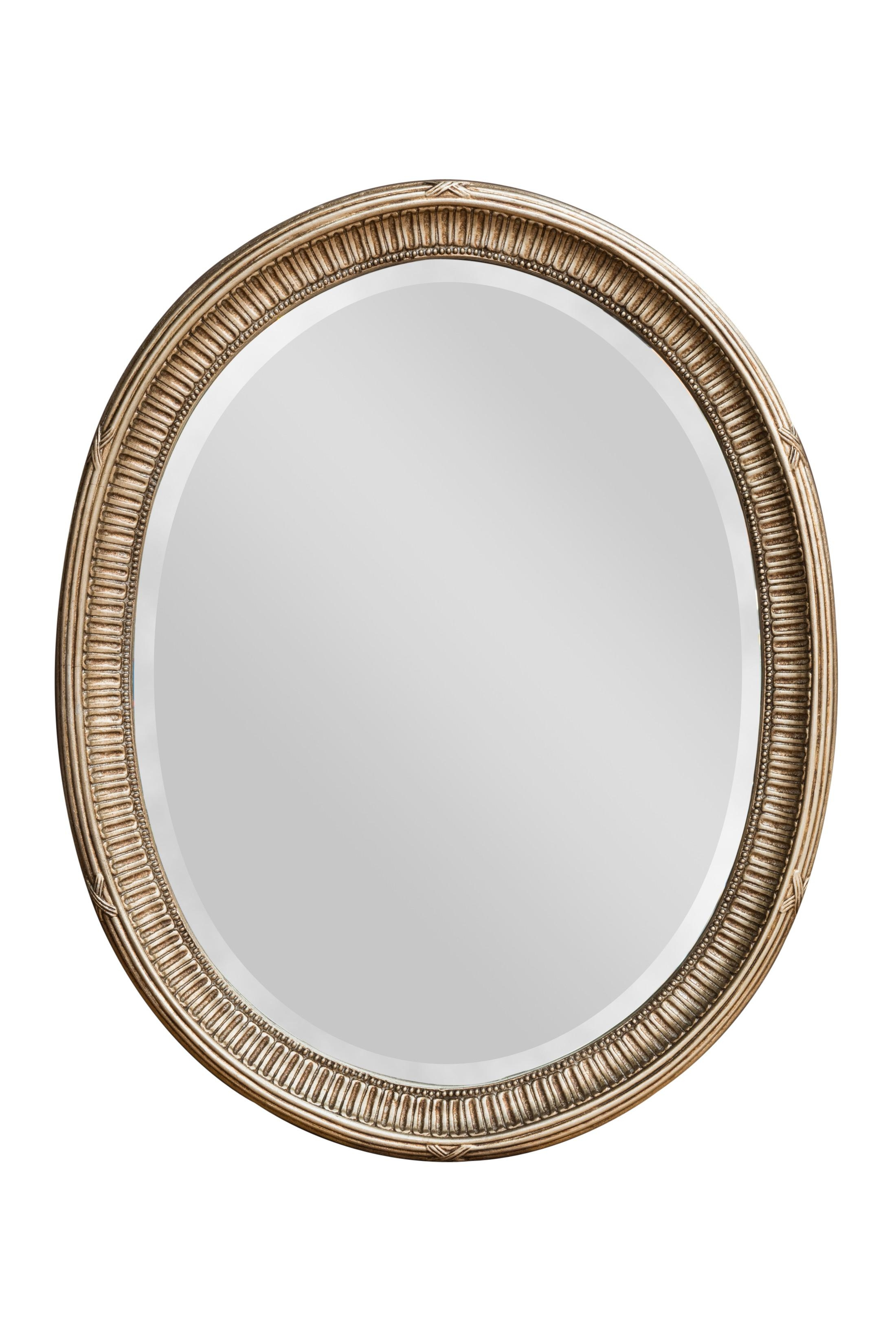 Adam Silver Oval Mirror | Bedroom Mirrors For Sale – Panfili With Oval Silver Mirror (Image 1 of 20)