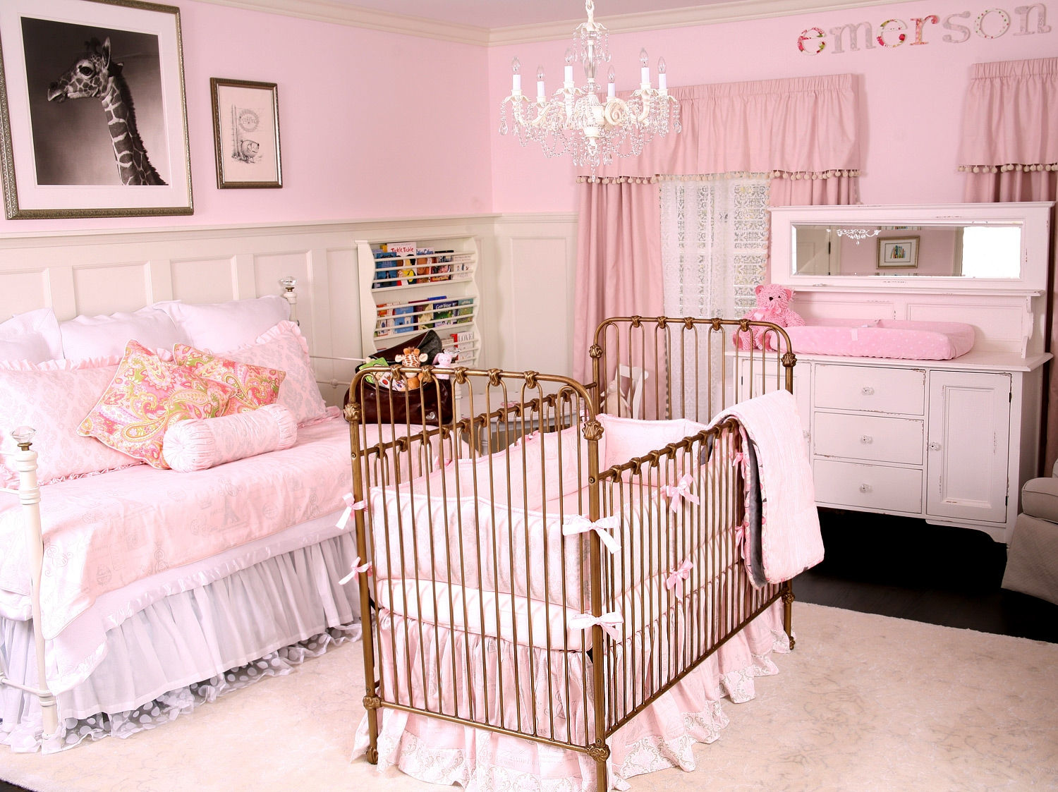 Adorable Pink Gray Ba Room Decor Vintage Crystal Chandelier Pink Inside Crystal Chandeliers For Baby Girl Room (View 25 of 25)