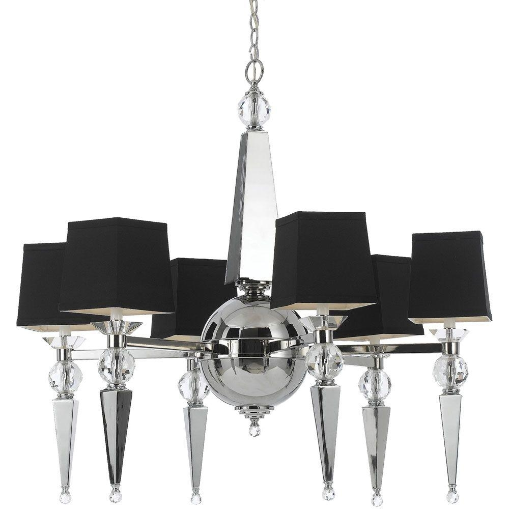 Af Lighting Clark 6 Light Chrome Chandelier With Crystal Accents Intended For Crystal Chrome Chandeliers (Image 4 of 25)
