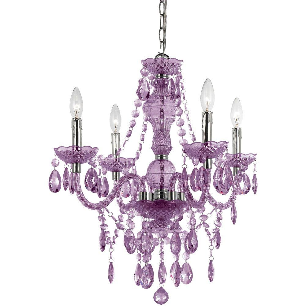 Af Lighting Naples 4 Light Chrome Mini Chandelier With Light Within Purple Crystal Chandelier Lights (Image 4 of 25)