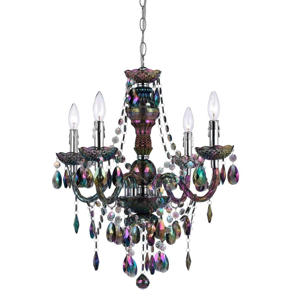 Af Lighting Naples 4 Light Metallic Mini Chandelier With Pertaining To Turquoise Mini Chandeliers (Image 6 of 25)