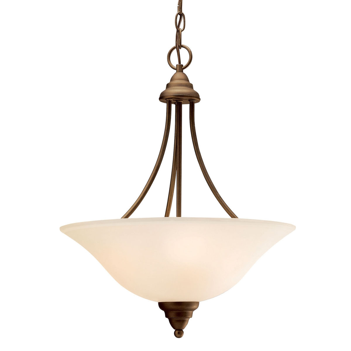 Affordable Timeless 3 Light Inverted Pendant In Olde Bronze Intended For Inverted Pendant Chandeliers (Image 5 of 25)