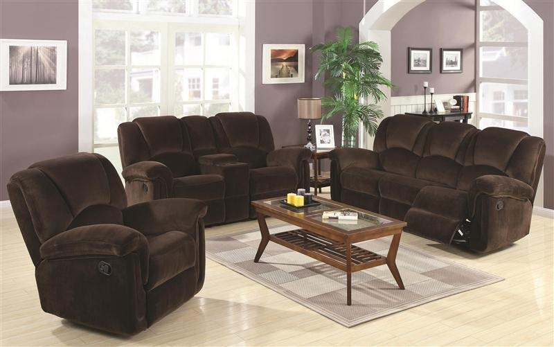 Ajay 2 Piece Reclining Sofa Loveseat Set In Chocolate Velvet Regarding Reclining Sofas And Loveseats Sets (Image 1 of 20)