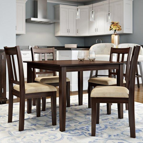 Alcott Hill Primrose Road 5 Piece Dining Set & Reviews | Wayfair Throughout Dining Table Chair Sets (Image 3 of 20)