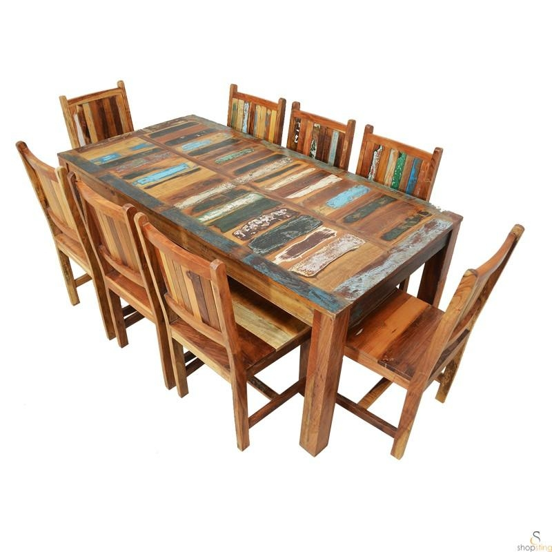 Alfai Indian Reclaimed Wood 8 Seater Dining Table Sets – 8 Seater Intended For 8 Dining Tables (Image 8 of 20)