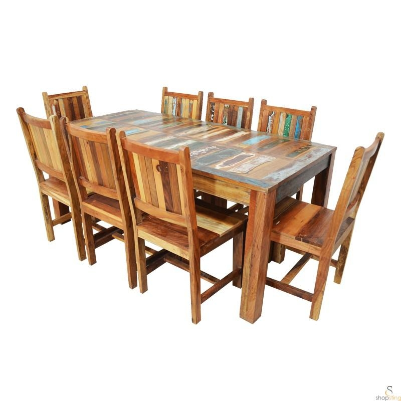 Alfai Indian Reclaimed Wood 8 Seater Dining Table Sets – 8 Seater Throughout 8 Seater Dining Table Sets (Image 3 of 20)