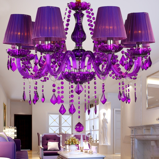 Aliexpress Buy Crystal Chandelier Purple Lampshades Lustres With Regard To Purple Crystal Chandeliers (Image 6 of 25)