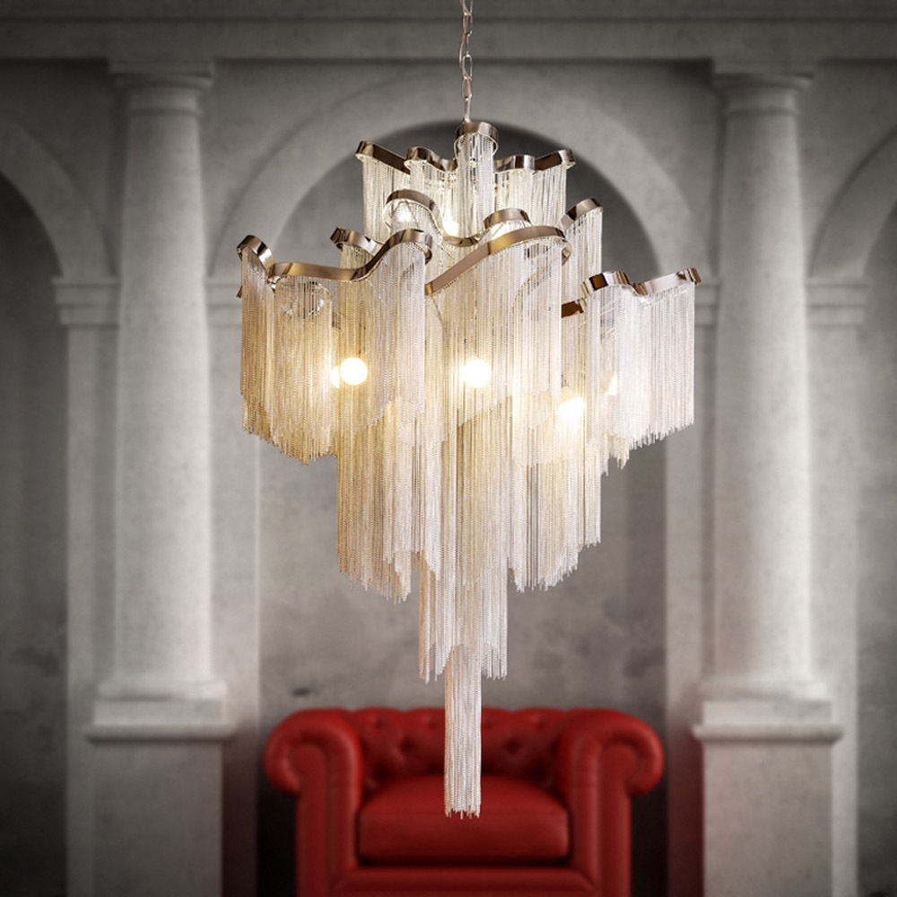 Aliexpress Buy Luxury Waterfall Chandelier Hotel Ceiling With Regard To Waterfall Chandeliers (Image 4 of 25)