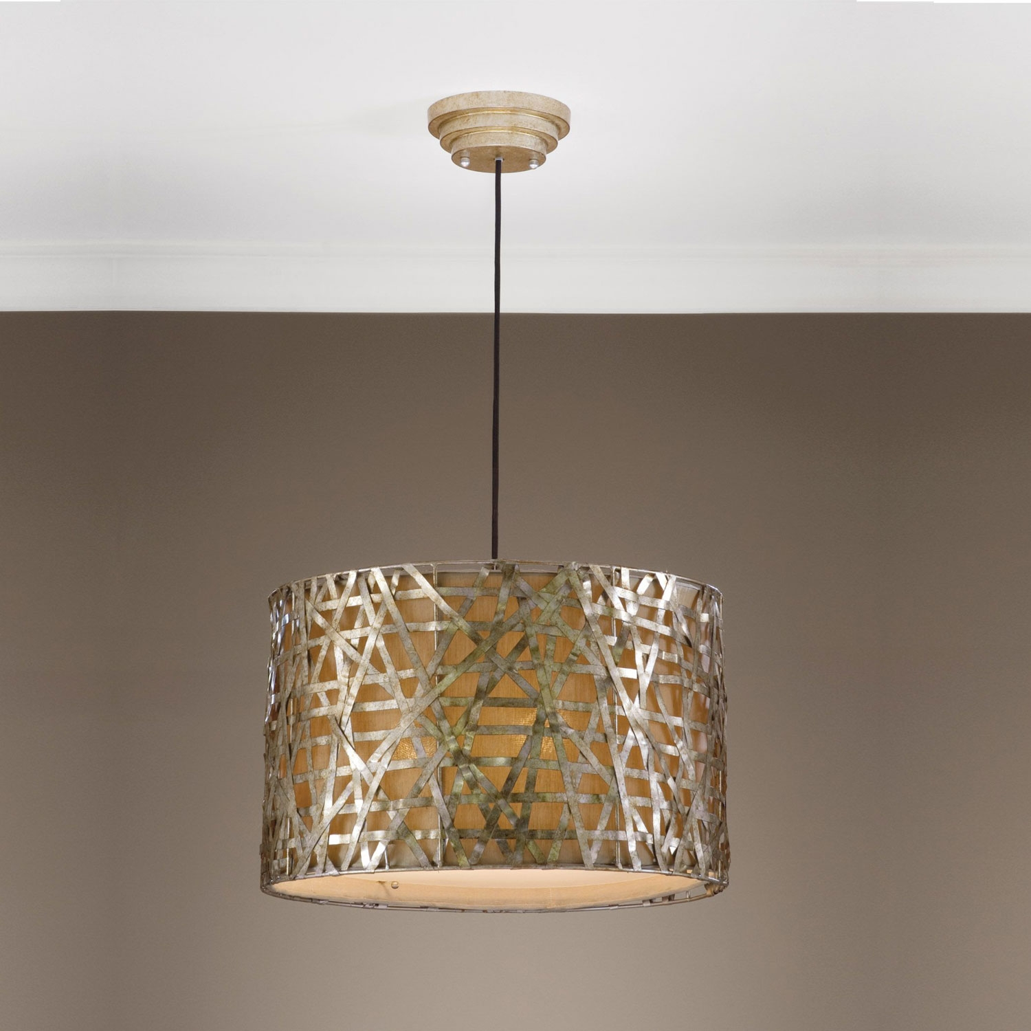Alita Drum Pendant Uttermost Drum Pendant Lighting Ceiling Lighting With Regard To Metal Drum Chandeliers (Image 1 of 25)
