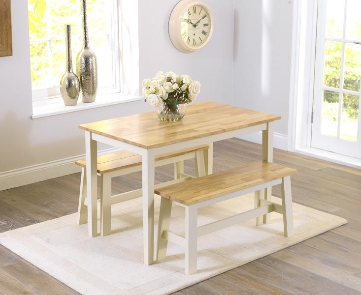 Alluring Oak Bench For Dining Table Small Kitchen Table Set Small Within Small Dining Tables And Bench Sets (Image 2 of 20)