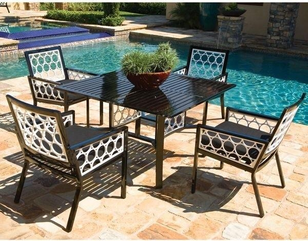 Aluminum Outdoor Dining Table And Chair Set – Modern – Patio Inside Outdoor Dining Table And Chairs Sets (Image 2 of 20)