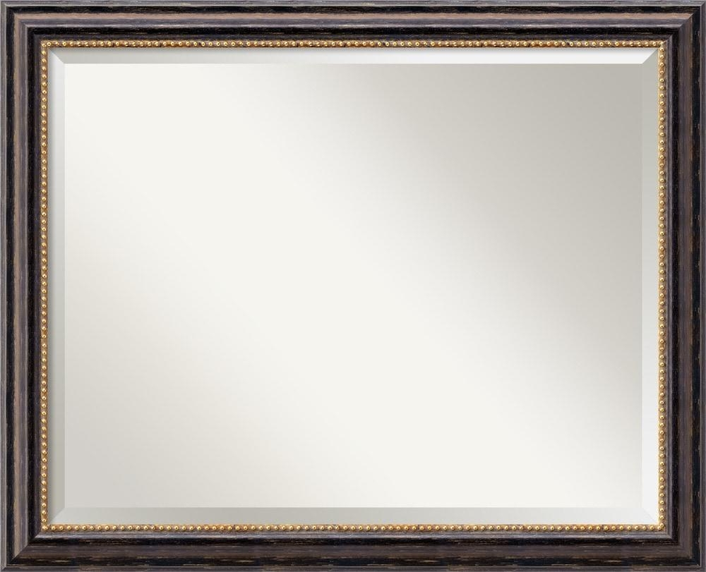 Amanti Art Tuscan Rustic Black Wall Mirror – Large 32 X 26 Inch Regarding Large Black Mirror (Image 1 of 20)