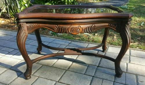 Amazing Best Antique Glass Top Coffee Tables In Antique Walnut Chippendale Tea Coffee Table Carved Inlay Glass Top (Image 1 of 50)
