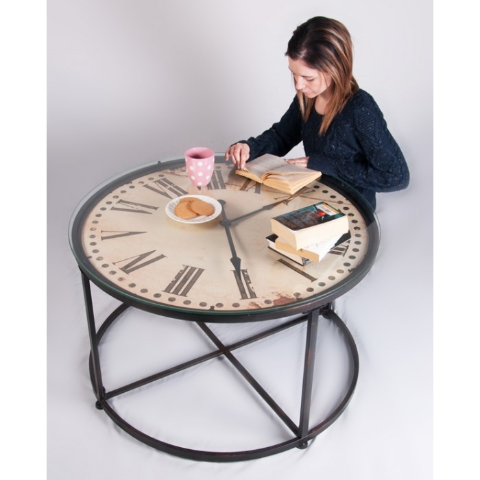 Amazing Best Coffee Tables With Clock Top Pertaining To Tea Time Round Table With Glass Top And Clock Face Underneath (Image 1 of 40)