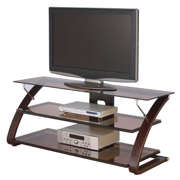Amazing Best Glass TV Stands Inside Z Line Designs Keira 3 Shelf Mocha Glass Tv Stand For 32 55 Inch (Image 1 of 50)