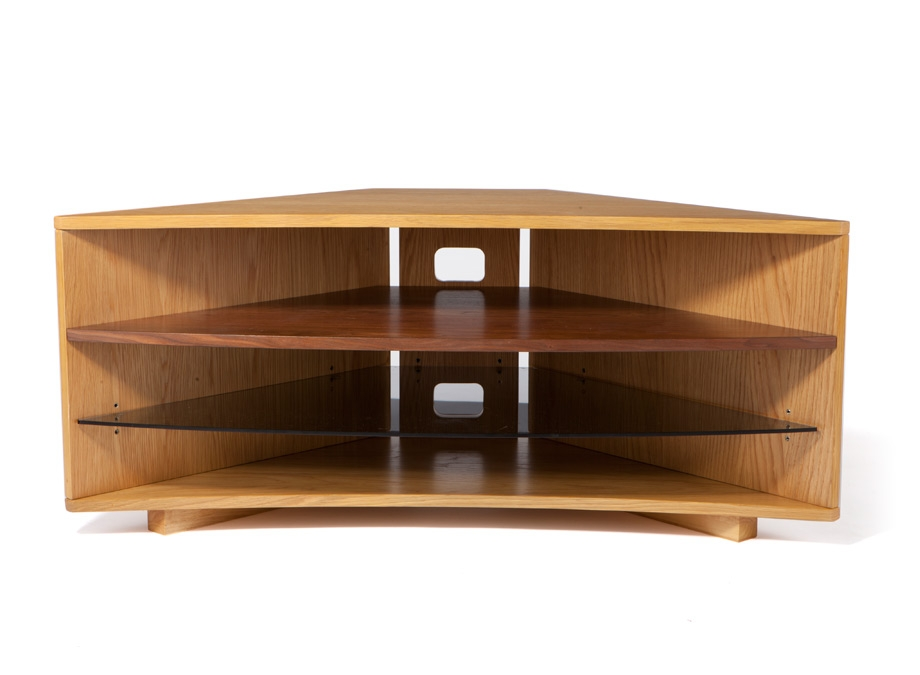 Amazing Best Large Oak TV Stands Regarding Optimum Cave Corner Oak Tv Stand W Walnut Shelf Wood Tv Stands (Image 1 of 50)