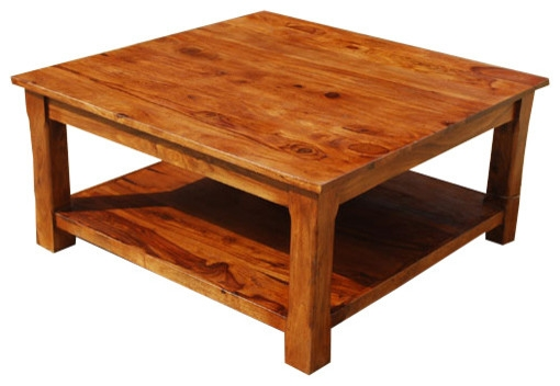 Amazing Best Large Square Wood Coffee Tables For Large Square Coffee Table 2 Tier Solid Wood Furniture Rustic (Image 1 of 50)